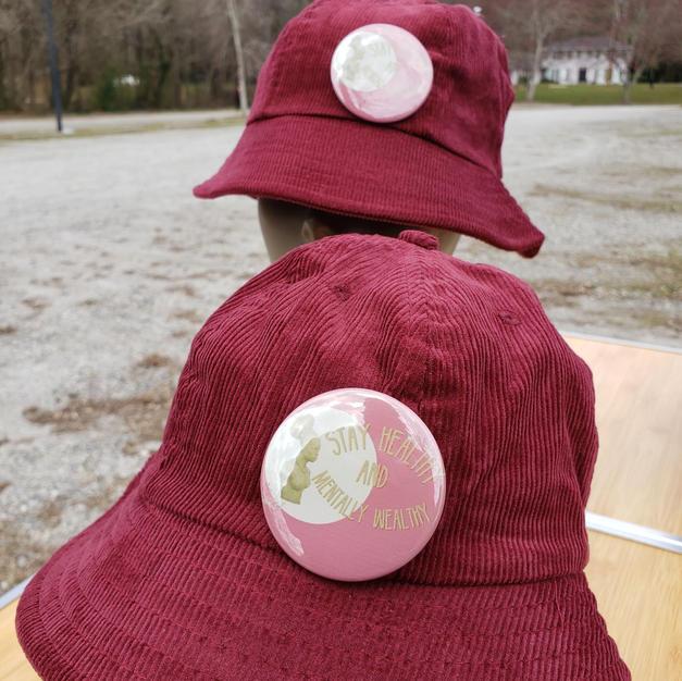 $45 female button Maroon corduroy bucket hat
