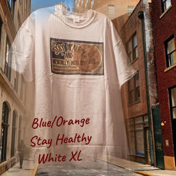 SOLD! $20 UNISEX blue/orange Stay Healthy white XL