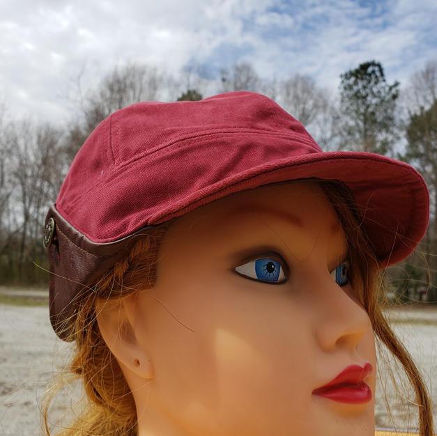 $45 UNISEX brown leather maroon earflap cap