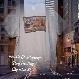 SOLD! $20 Female blue/orange Stay Healthy sky blue XL