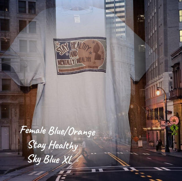 $20 Female blue/orange Stay Healthy sky blue XL