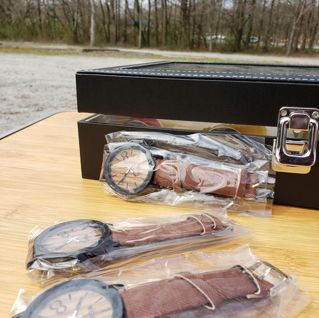 $35 brown wood face watch
