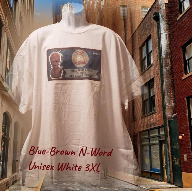 $25 UNISEX blue/brown N-word white 3XL