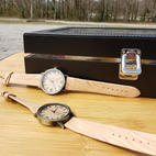 $45 tan wood grain wristband watch