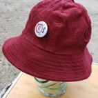 $40 black man button Maroon corduroy bucket hat