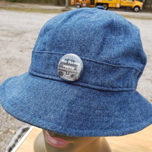 "$30 UNISEX ""No radio Hits"" denim bucket hat"