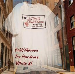$20 gold/maroon Tru Hardcore white XL