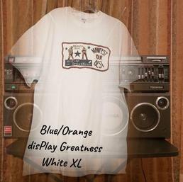 SOLD! $20 blue/orange disPlay Greatness white XL