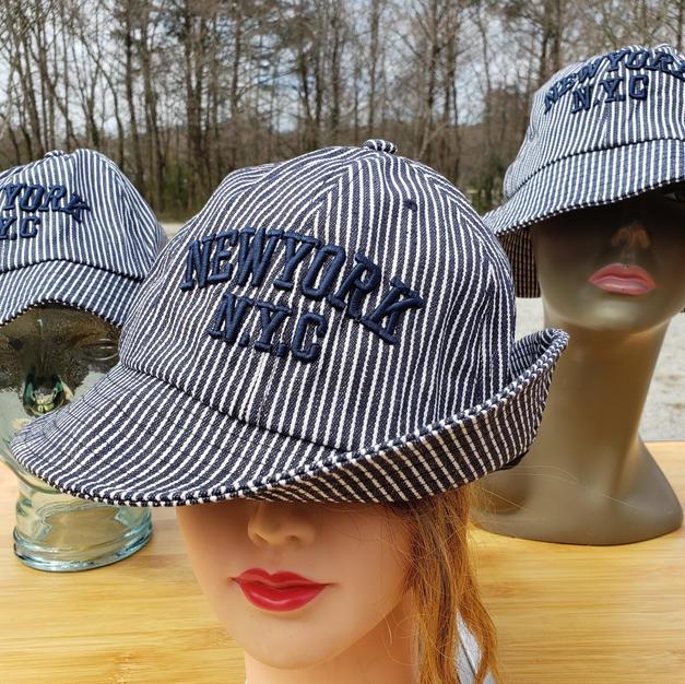 $45 UNISEX blue pin striped NYC bucket hat