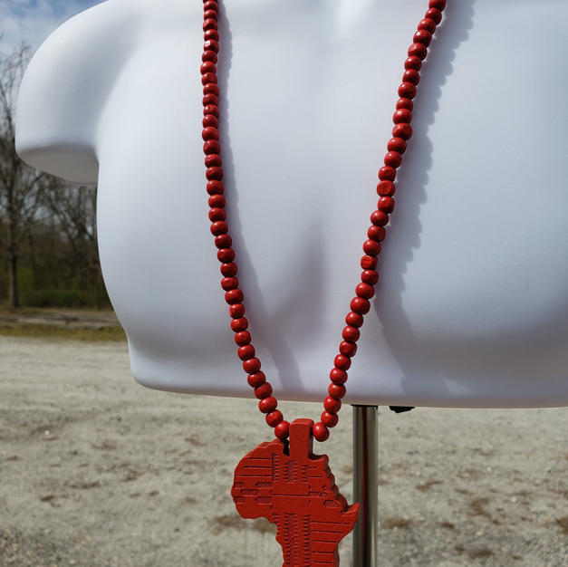 $25 red wood Africa beads