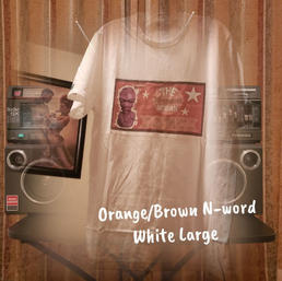 $18 orange/brown N-word white Large