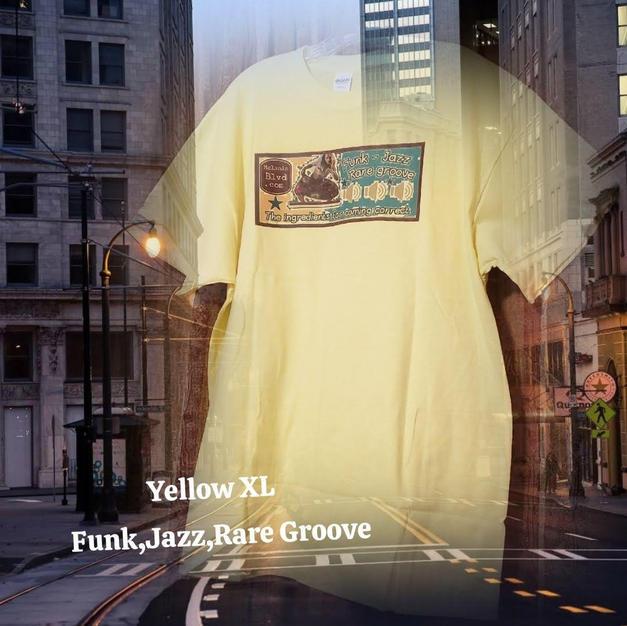 $20 UNISEX funk,jazz,rare groove yellow XL