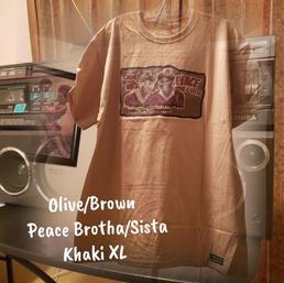 $20 olive/brown Peace brotha/sista khaki XL