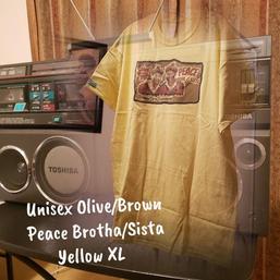 $20 UNISEX olive/brown Peace brotha/sista yellow XL