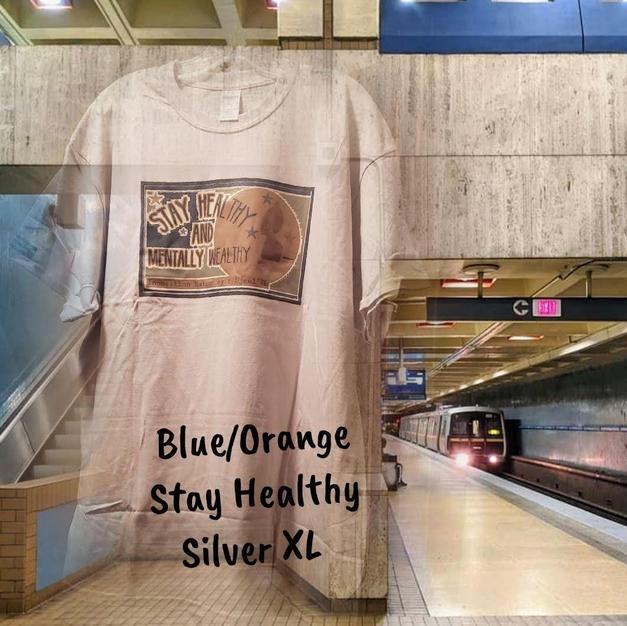 $20 UNISEX blue/orange Stay Healthy silver XL