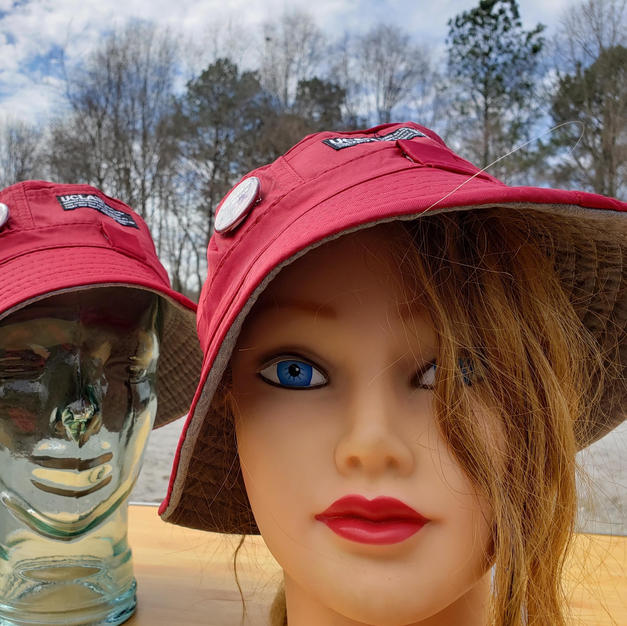 """$25 UNISEX maroon fishing hat with """"Conscious Style"""" button"""
