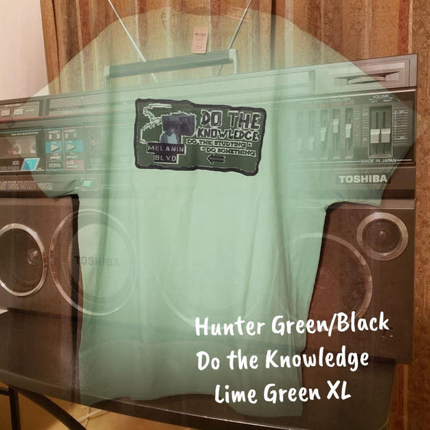 $20 UNISEX hunter green/black Do the Knowledge lime green XL