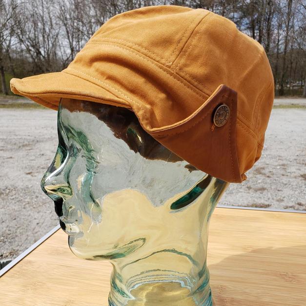 $45 UNISEX brown leather gold earflap cap