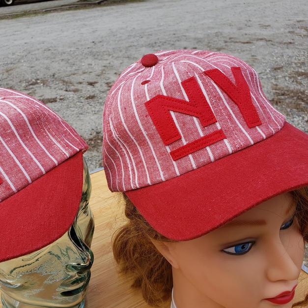 $60 UNISEX rare find red/white stripe NY ball cap