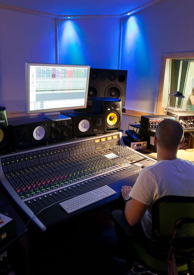 Drum recording in progress