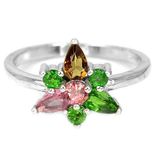 ☯Серебряное кольцо с турмалином натуральным