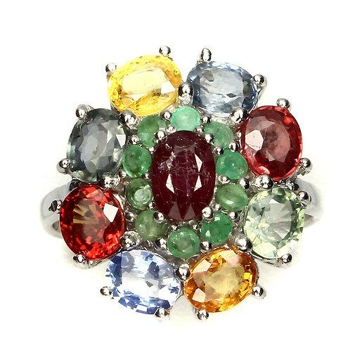 ☯Серебряное кольцо с розовым корундом, цветным сапфиром и зеленым бериллом