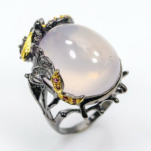 Серебряное кольцо с розовым кварцем натуральным