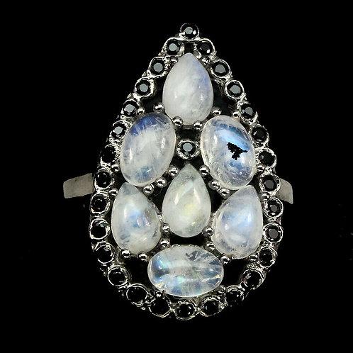 ☯Серебряное кольцо с лунным камнемнатуральным