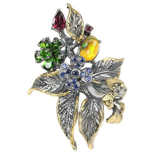 Серебряное кольцо с опалом, гранатом и хром диопсидом натуральным