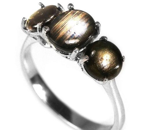 Серебряное кольцо с звездчатым сапфиром натуральным