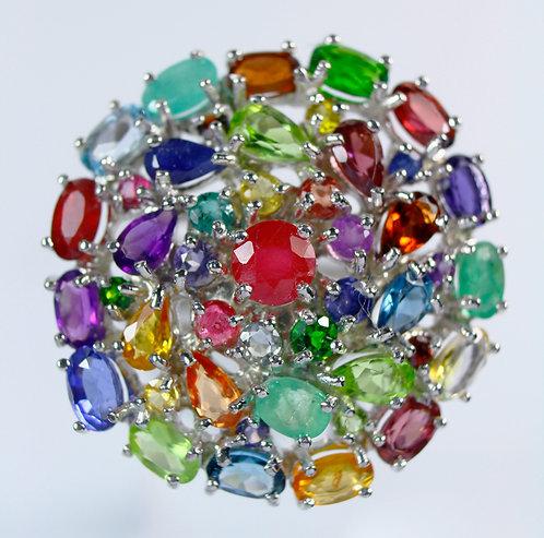 ☯Серебряное кольцо с изумрудом сапфиром топазом и аметистом