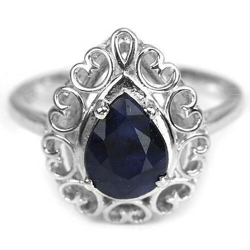 ☯Серебряное кольцо с сапфиромнатуральным