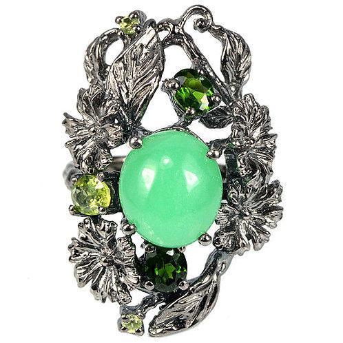 Серебряное кольцо с хризопразом, перидотом и хром диопсидом натуральным