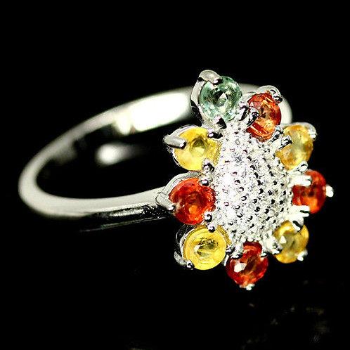 ☯Серебряное кольцо с цветным сапфиром натуральным