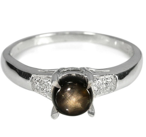 ☯Серебряное кольцо с звездчатым сапфиром натуральным