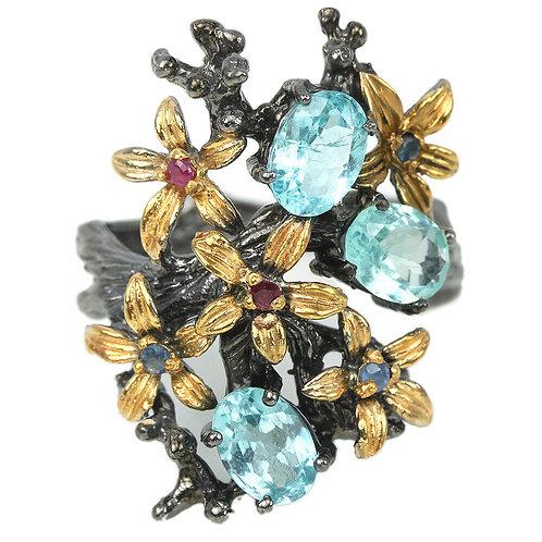 Серебряное кольцо с апатитом натуральным