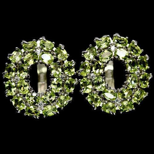 Серебряные серьги зеленый перидот натуральный