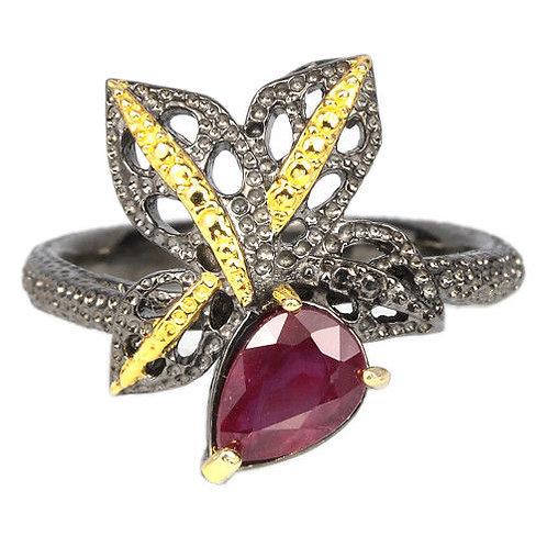 ☯Серебряное кольцо с рубином натуральным