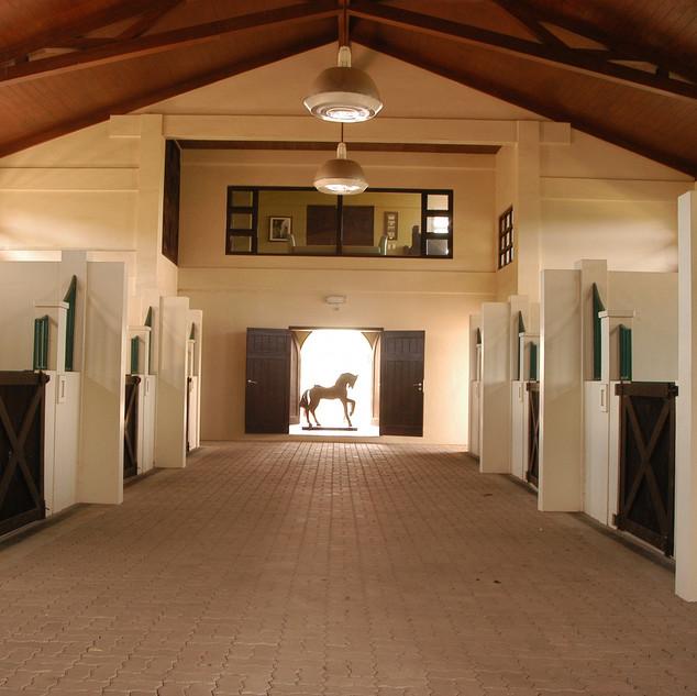 Barn Interior with Antique Horse.