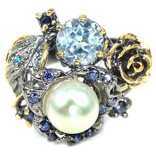 ☯Серебряное кольцо с топазом и жемчугом натуральным
