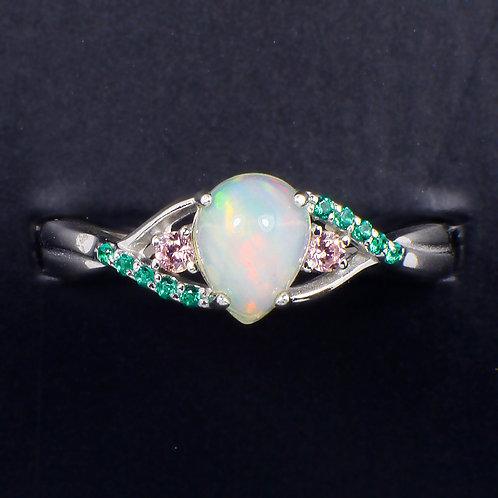 ☯Серебряное кольцо с опалом и фианитом (Природными)»