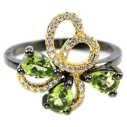☯Серебряное кольцо с перидотом  (Природным )
