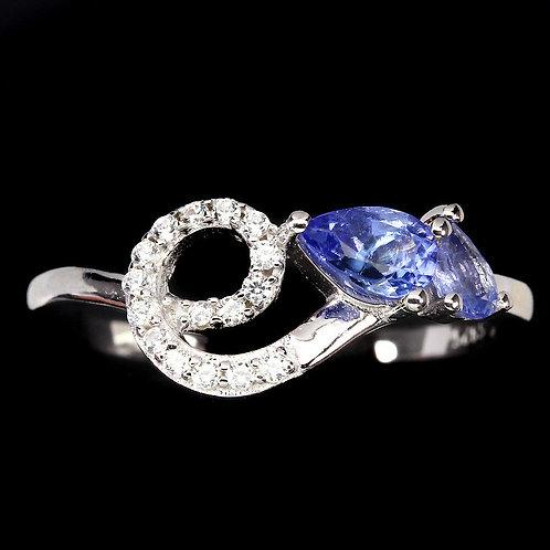 ☯Серебряное кольцо с танзанитом натуральным