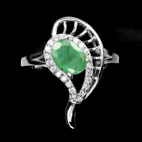 Серебряное кольцо с изумрудом натуральным
