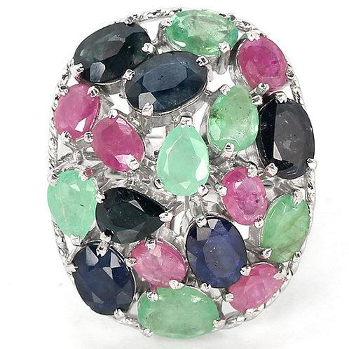 Купить Серебряное кольцо ручной работы с рубином, сапфиром, изумрудом. Купить серебряное кольцо с натуральными камнями.