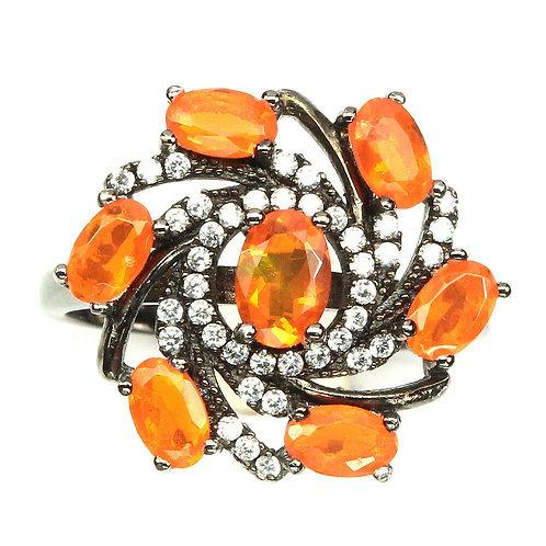 ☯Серебряное кольцо с огненным опаломнатуральным