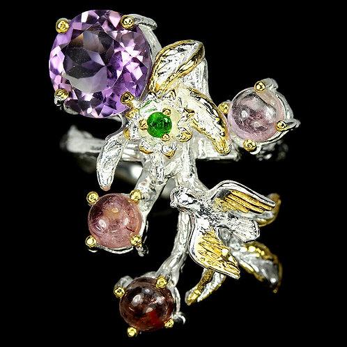 ☯Серебряное кольцо с аметистом и турмалином натуральным