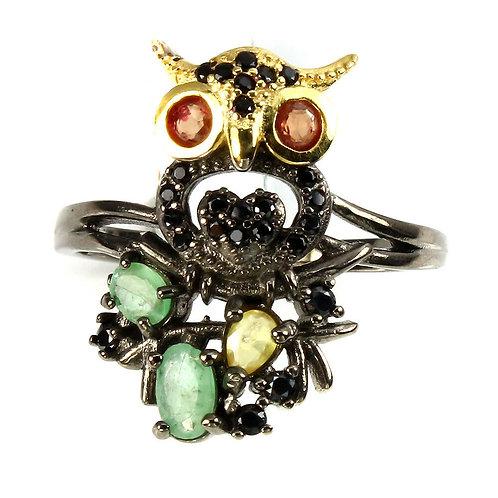 ☯Серебряное кольцо с изумрудом и сапфиром натуральным