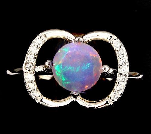 ☯Серебряное кольцо с опалом( Природным)