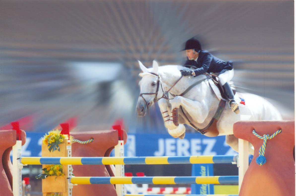 Toni Leviste and Ghandy at the World Equestrian Games 2002 in Jerez, Spain.